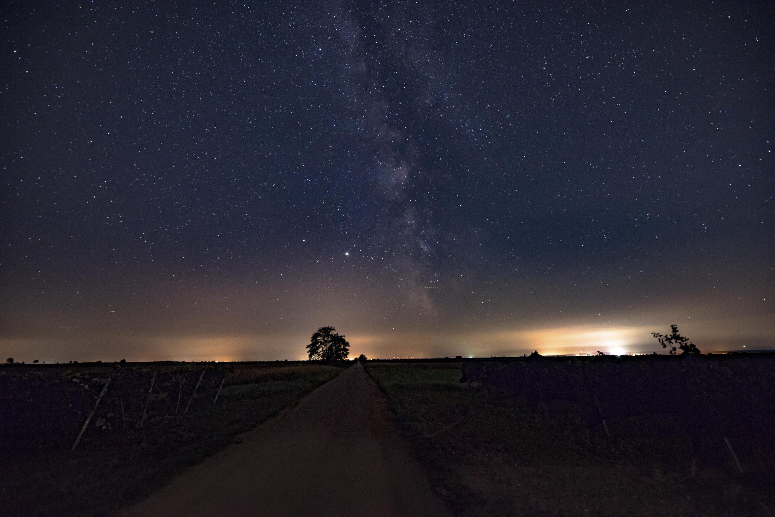 Sterne, Nacht, Licht, Autos