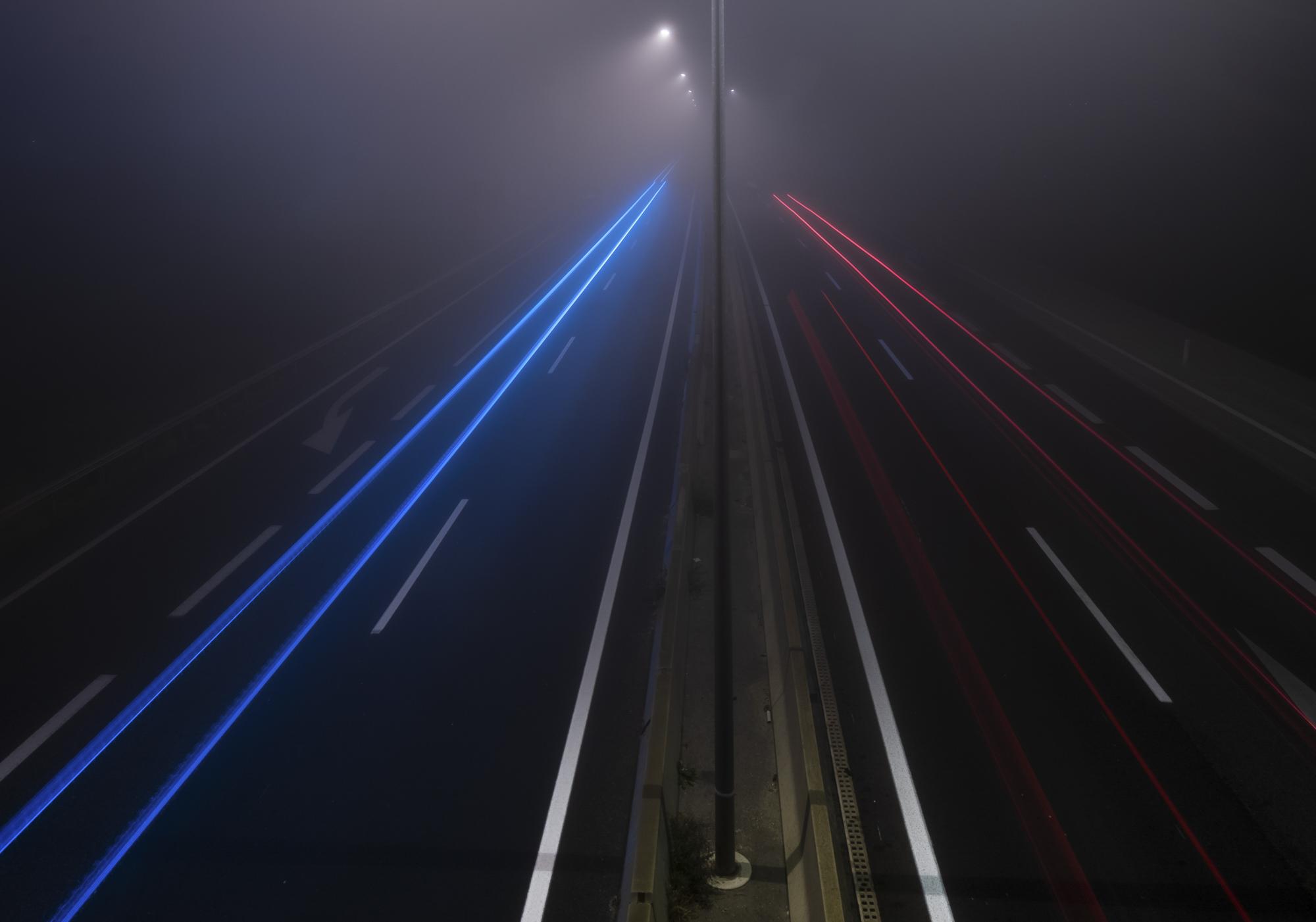 Licht Autobahn rot und blau